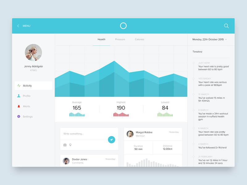 Medical dashboard   dashboard fitness sport health running flat simple ui ux graph medical heart