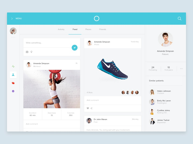 Profile screen doctor fitness mail sport health friends flat feed timeline dashboard profile medical
