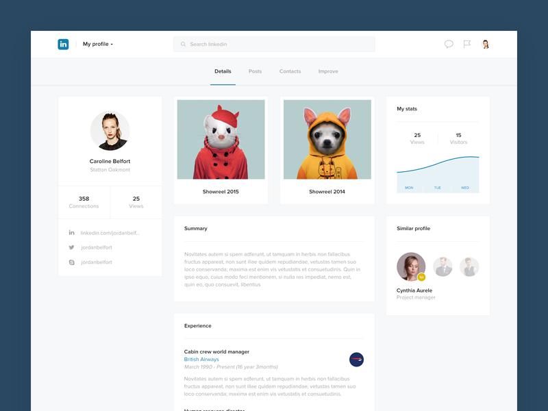 Linkedin profile challenge concept dashboard network flat feed profile social follow post redesign linkedin