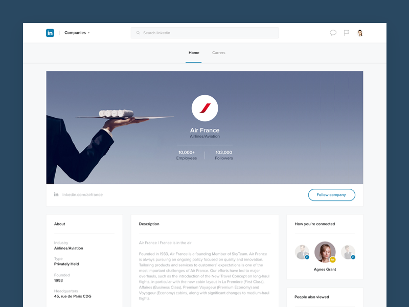 Linkedin company page airfrance company concept dashboard network feed profile social follow post redesign linkedin