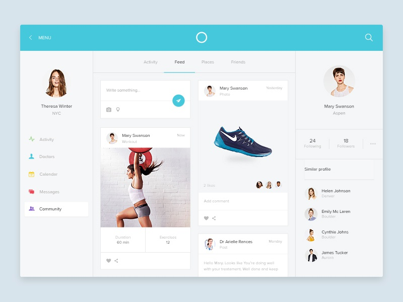 Osome community screen medical graph ux ui simple flat running health sport fitness dashboard osome