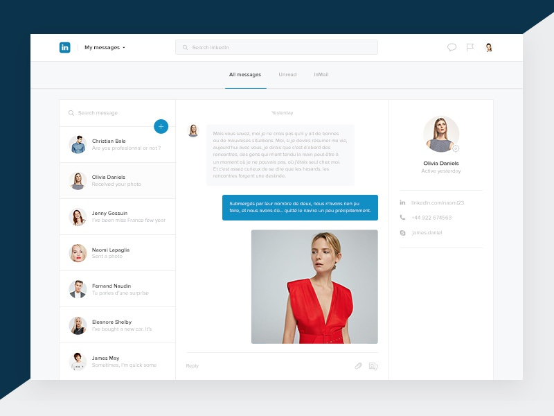 Linkedin messages chat concept conversation network thread bubble social email messages redesign linkedin