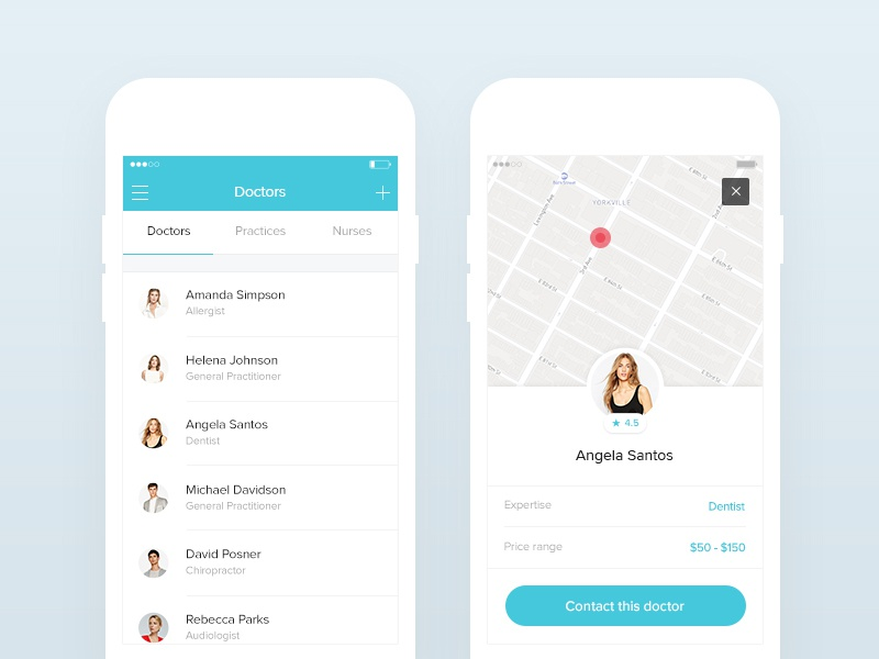 Mobile doctors screens minimal ui android ios responsive map fitness list health flat ux medical