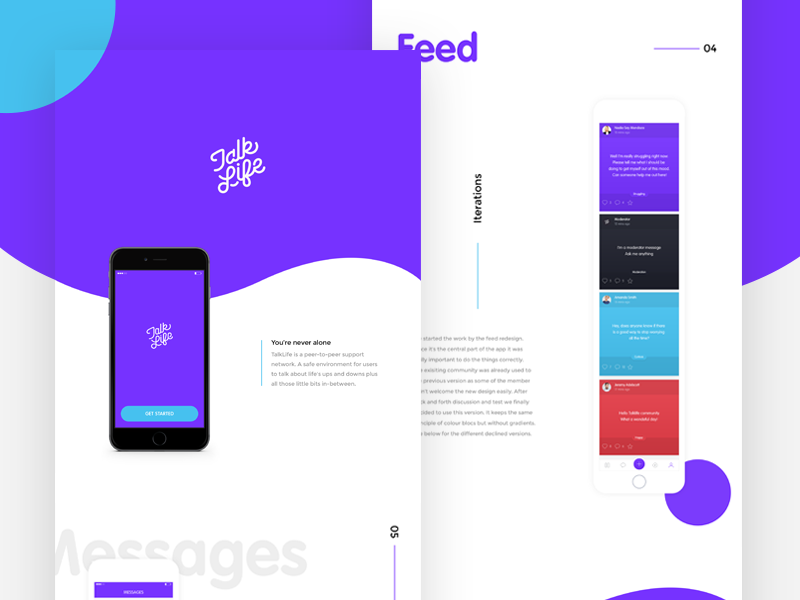 Talklife Behance case study help profile minimal health flat simple ui ux app ios network social
