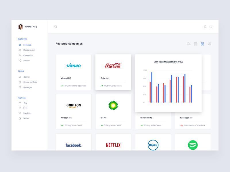 Fintech featured companies list desktop app ux ui list companies pie chart advice featured bank finance