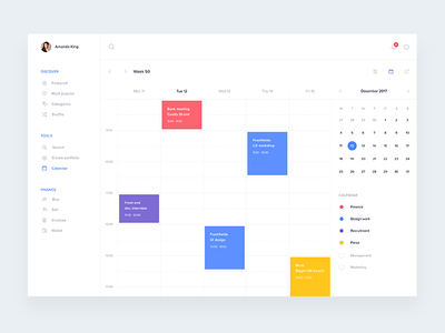 Calendar screen ui calendly evernote crm dashboard fintech app desktop events material schedule calendar