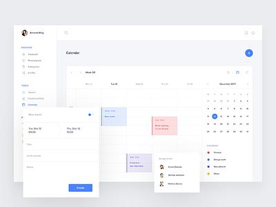 Calendar screen v2 timetable calendly evernote crm trello fintech app desktop events material schedule calendar