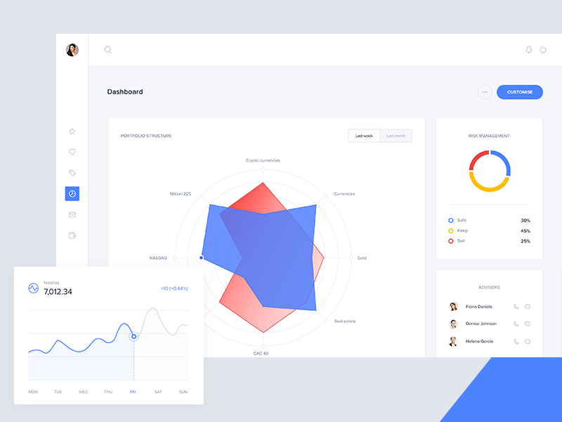 Portfolio allocation visualisation desktop app ux ui fintech dashboard bank finance ethereum bitcoin