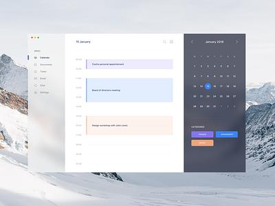 Fluent UI calendar fluent microsoft material calendar desktop app fintech dashboard slack blur sketch freebies