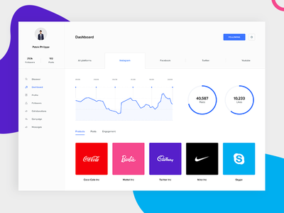 Influencers platform dashboard legaltech startup saas minimal ui crm stats analytics dashboard commercial advertisement ads campaign instagrammers youtubers youtube marketing