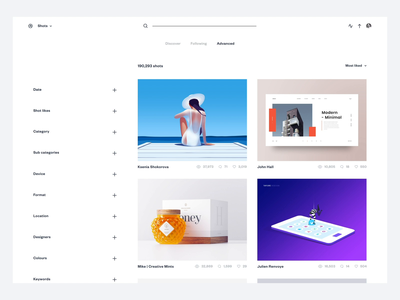 Dribbble Redesign Concept - Advanced Discovery