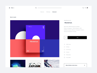 Dribbble redesign concept - Shot page desktop saas legaltech startup crm minimal instagram user journey user flow invision sort categories tags elastic facets filters search