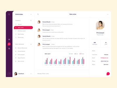 Slack concept - Conversation screen interface ui ux product design redesign dropbox airbnb sales report skype call direct message channels profile communication conversation chat email