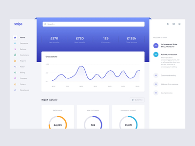 Stripe concept - Homepage skeuomorphism app after effects animation solution bank fintech online portal saas desktop interface dashboard transaction master card visa cards checkout