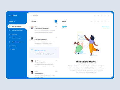 Outlook - Inbox freebie experience app after effects animation interface ui ux product design slack message