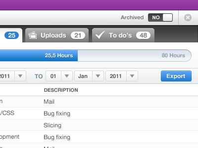 Digiti Back office - Project view backoffice digiti admin tabs switch purple blue