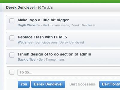 To do's backoffice green list todo checkbox input form admin digiti