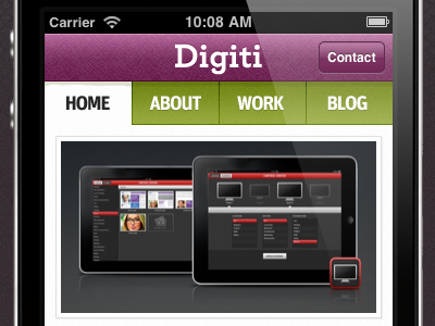 Digiti - Mobile version site design mobile purple green iphone navigation slider digiti