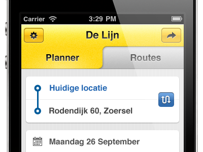 The redesign of the De Lijn iPhone app delijn iphone redesign yellow gray mobile form tabs