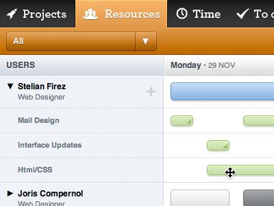 Digiti Back office - Resources resources timeline orange ui interface drag drop resize