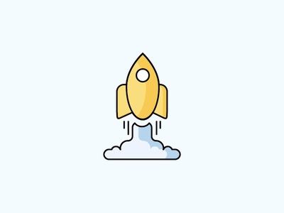 Rocket illustration space shadows blues light yellow rocket