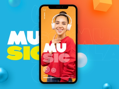 Music App   Simple & Clean Design playlist musician music player application app music app mobile 3d sound bold colorful play song music