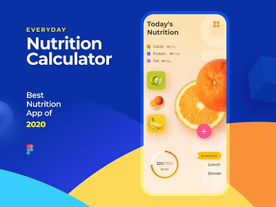 Nutrition Calculator App creative ui tracker design dailylife fruit clean figma colorful mobile app calculate nutrition