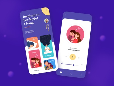 Motivation Daily meditation family love sleep interaction joyful motivation inspiration mobile design creative clean