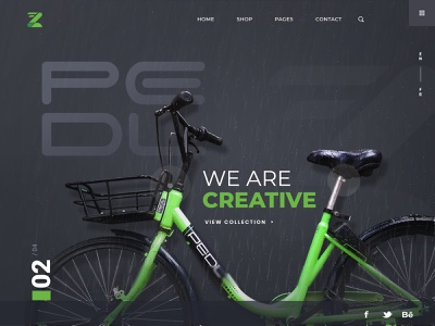 Pedl Bike   Home Page Redesign modern clean ui experiment homepage green redesign zoomcar pedl cycle bike