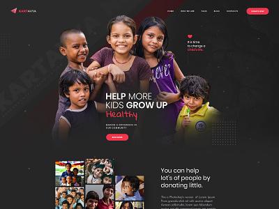 Charity Website Design ui modern creative dark child kartavya website poor ngo charity