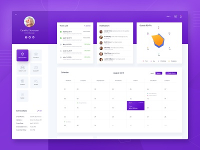 Event Management Dashboard ui design clean creative modern everyday event manager data dashboard management