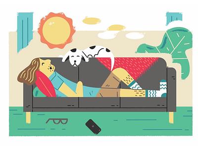 Naps are the best! sleep dogs naps illustration