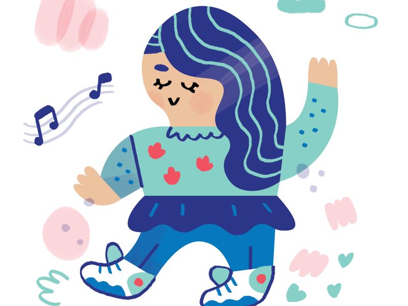 Imaginary daughter photoshop digital art imaginary daydreaming dance dancing blue hair blue illustrator illustration