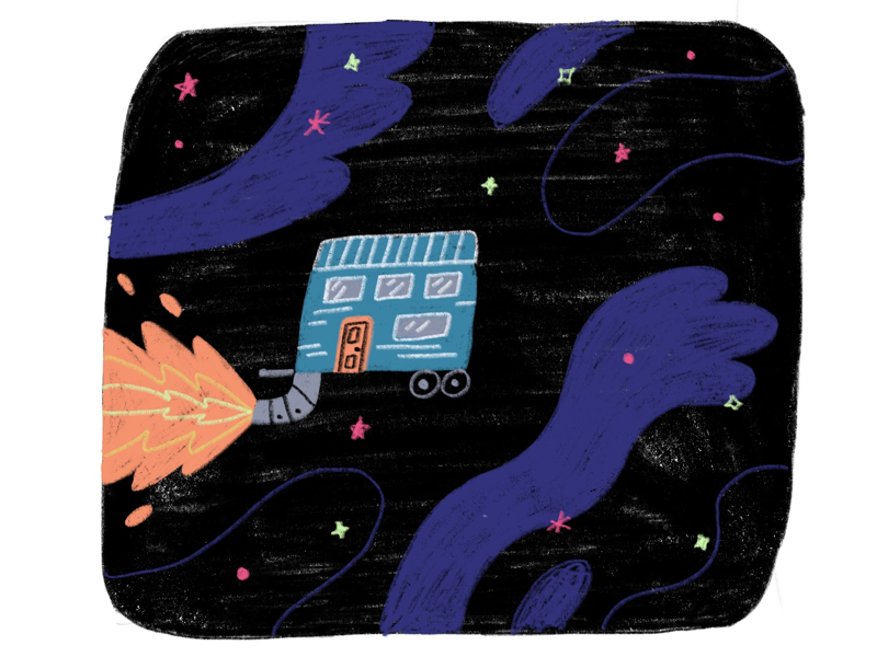 Tiny house in outer space illustration space tiny house