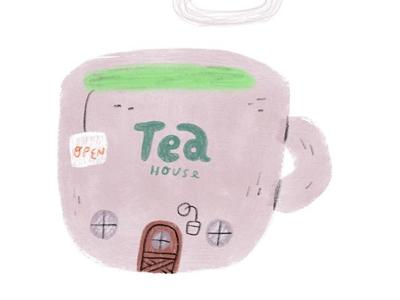 🍵🏡 kidlit mug objects drink illustration house tea green tea