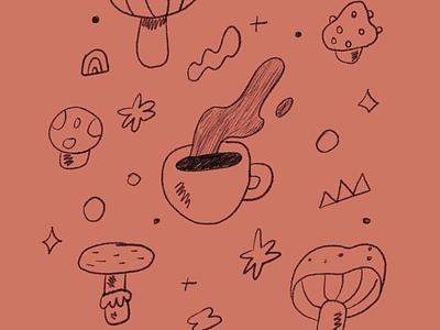🍄 ☕️ coffee illustration food illustration drawing line illustration drink food mushroomcoffee coffee mushroom
