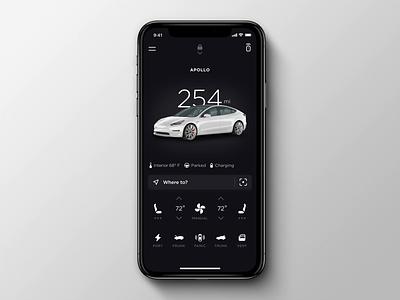 Tesla Mobile App Redesign: Unlocking unlock remote lyft uber mobile animation case study ux-ui ui tesla redesign minimal matthew key fob ios electric driving design clean car