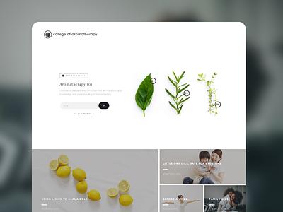 Aromatherapy webdesign clean branding ux ui minimal homepage natural aromatherapy