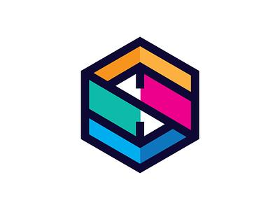 Logomark Puzzle Cube multicolor color multicolour colours cube hexagon logomark logo design logo