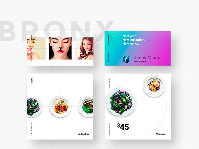 BRONX Social Media Pack social media free template instagram modern minimal post branding pinterest marketing banner