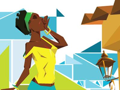 Namoradeiras ilustration brazil girl brazilian geometric