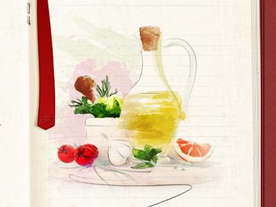 ingredients in watercolor. cookbook watercolor ingredients photomanipulation