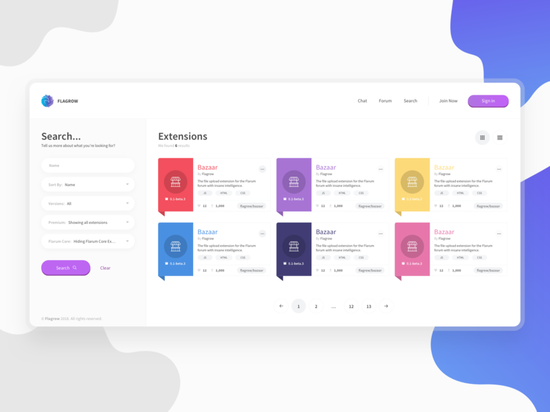 Flagrow Extesions Page Design by Paulo Trajano   Dribbble   Dribbble