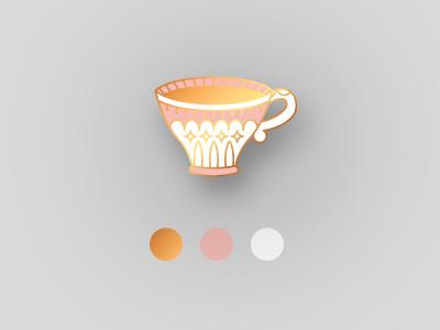 Teacup Pin playoff badge pin pingame lapel pin illustration tea time tea teacup