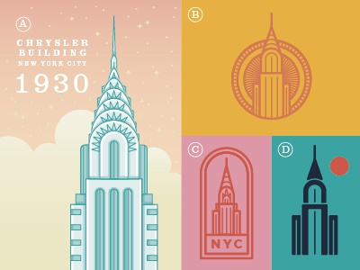 Chrysler Building illustration badges skyscraper highrise nyc new york city chrysler chrysler building 7daystocreate