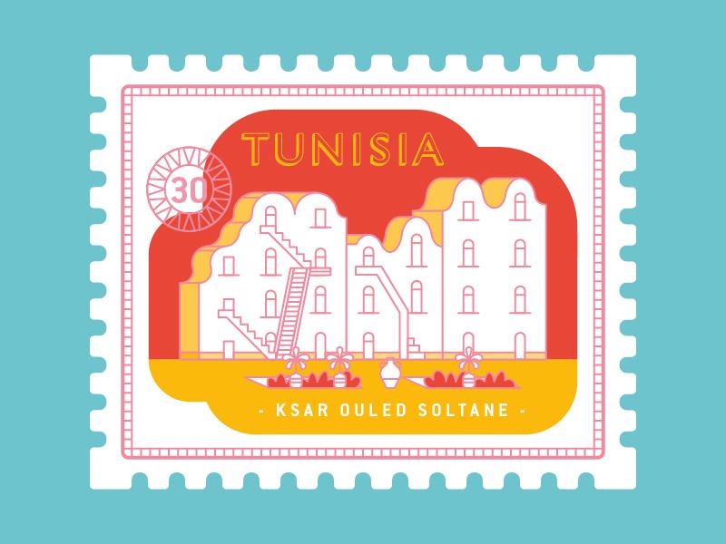 Tunisia ksar ouled soltane illustration travel stamp postage stamp granary africa tunisia
