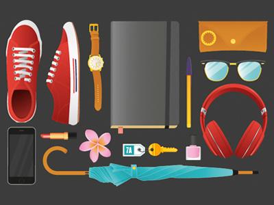 The Essentials notebook pen sunglasses headphones nail polish key umbrella flower lipstick cellphone watch shoes