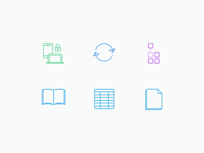 Marketing - Icons responsive secured sheet data book integration sync brochure colored icons