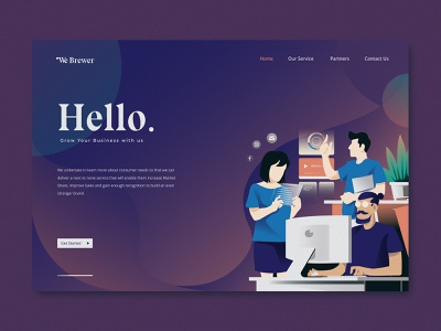 Digital Marketing - Landing page webdesign app flat illustration flatdesign landingpage icon typography ux graphicdesign design ui illustrations