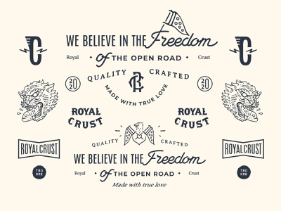 Royal Crust Branding lettering typography type illustration branding emblem motorcycle vintage design vintage badge design badge flatdesign design logo